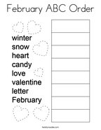 February ABC Order Coloring Page