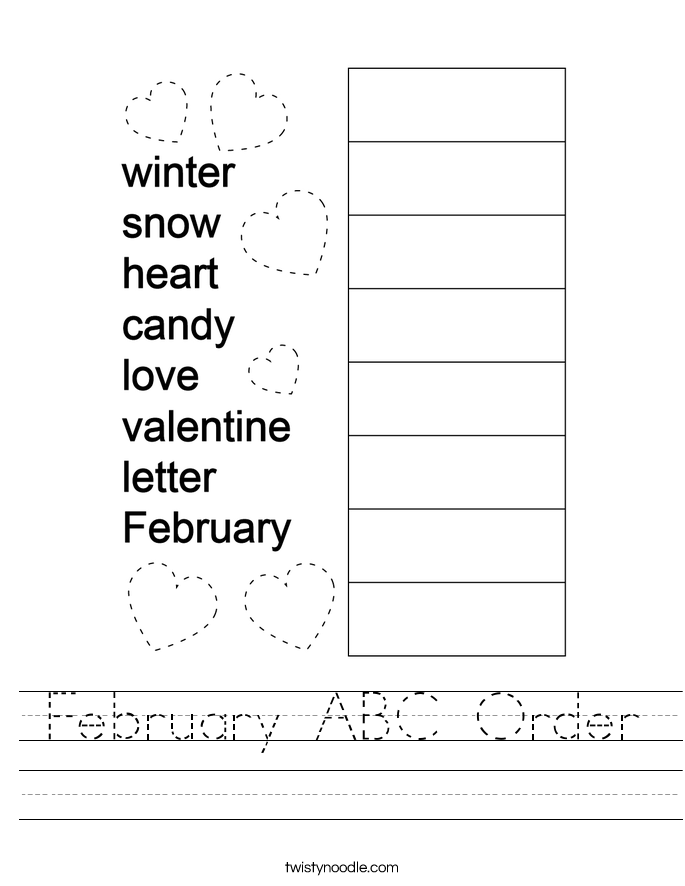 February ABC Order Worksheet