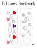 February Bookmark Coloring Page