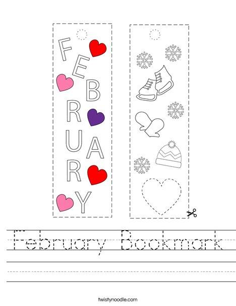 February Bookmark Worksheet
