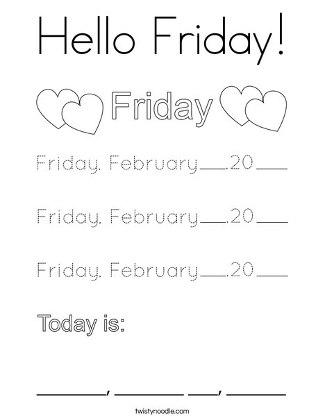 February- Hello Friday Coloring Page