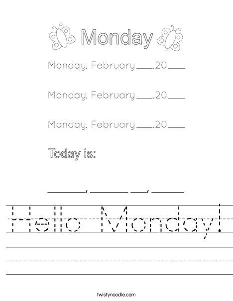 February- Hello Monday Worksheet