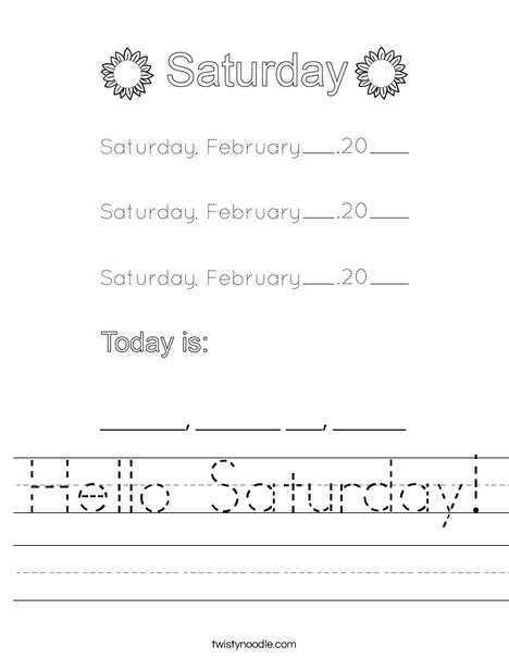 February- Hello Saturday Worksheet