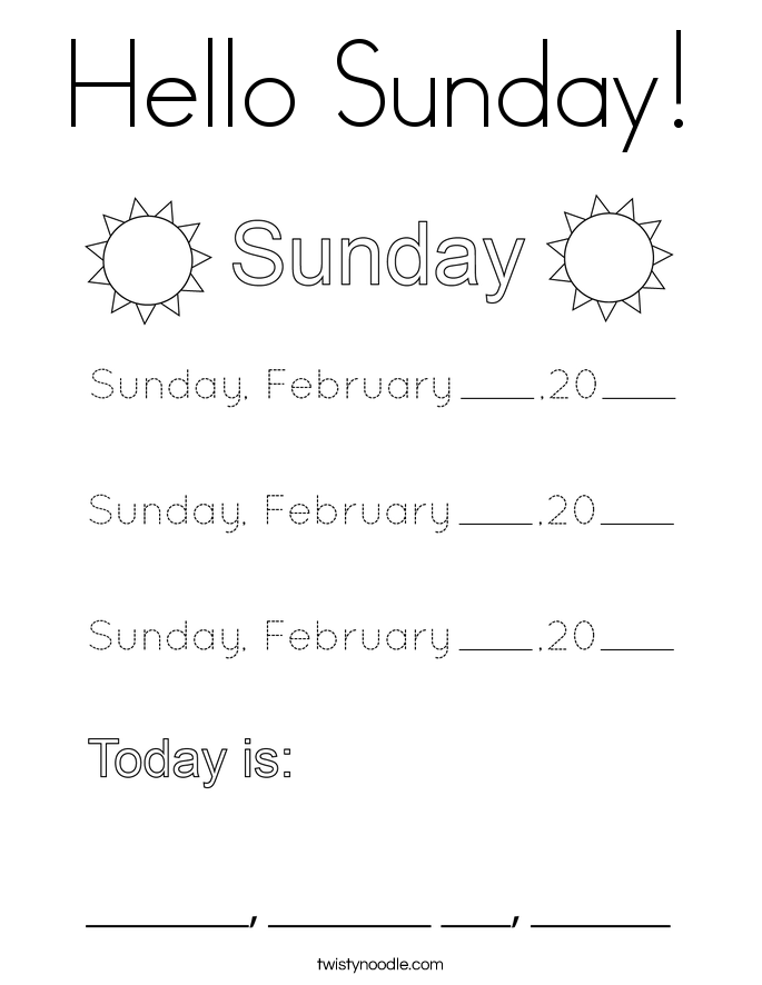 Hello Sunday! Coloring Page