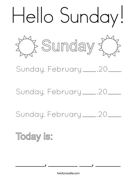 February- Hello Sunday Coloring Page