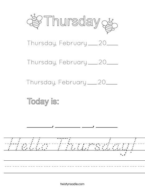 February- Hello Thursday Worksheet