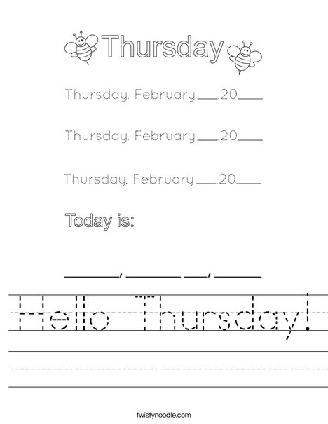 February- Hello Thursday Worksheet