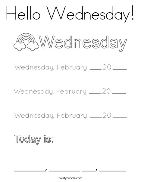 February- Hello Wednesday Coloring Page