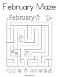 February Maze Coloring Page