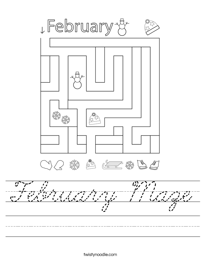 February Maze Worksheet