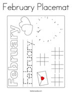 February Placemat Coloring Page