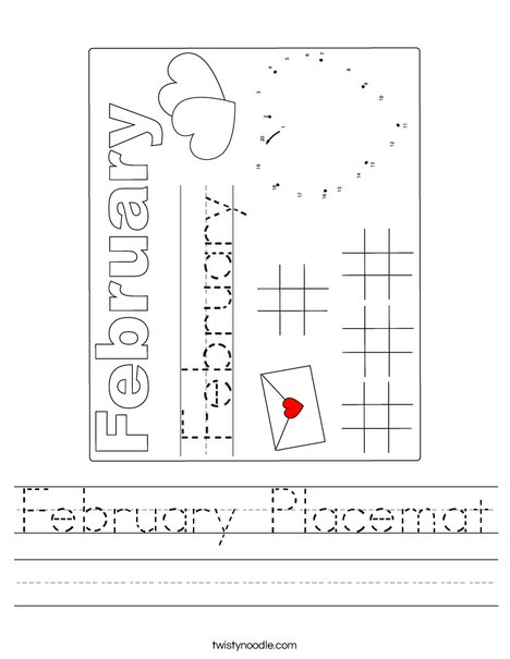 February Placemat Worksheet