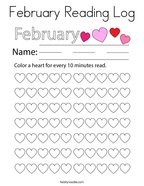 February Reading Log Coloring Page