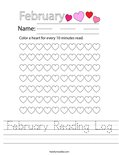 February Reading Log Worksheet