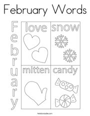 February Words Coloring Page