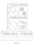 February Words Handwriting Sheet