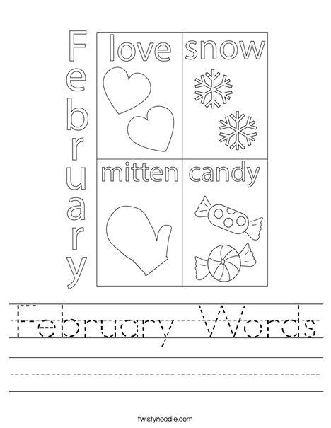February Words Worksheet