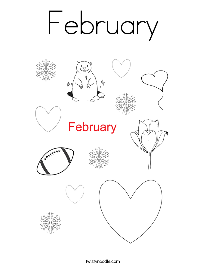 february coloring page - February Coloring Pages