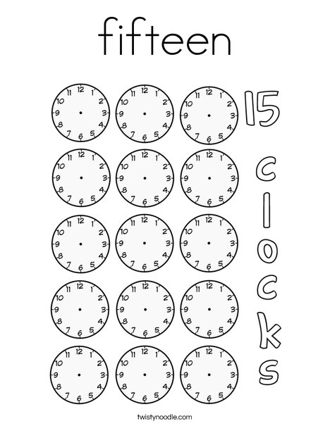 Fifteen clocks Coloring Page