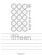 fifteen Handwriting Sheet