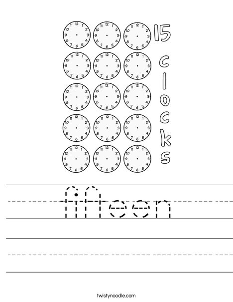 Fifteen clocks Worksheet