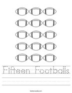 Fifteen Footballs Handwriting Sheet