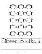 Fifteen Footballs Handwriting Sheet