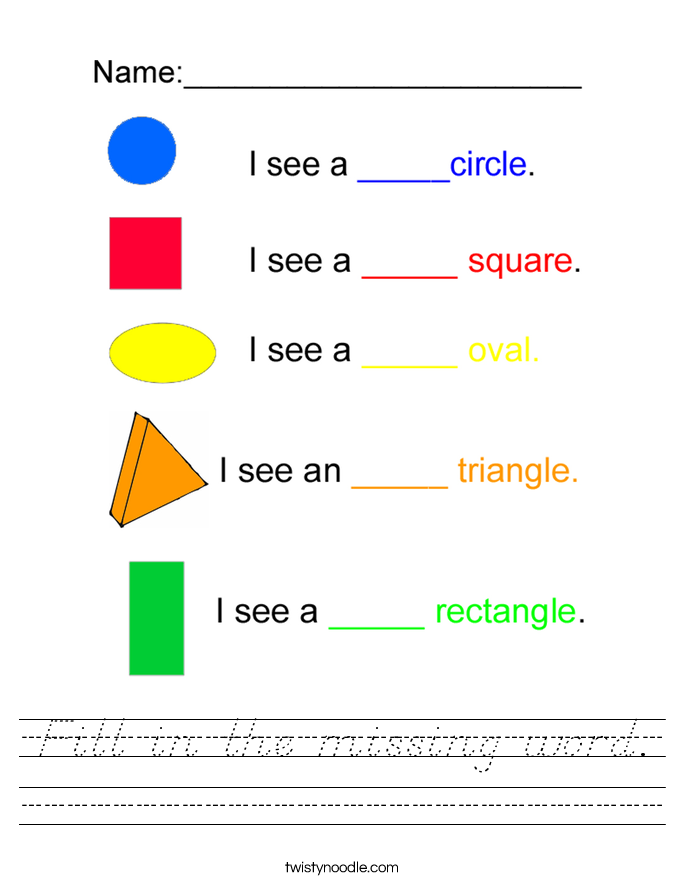 Fill in the missing word. Worksheet