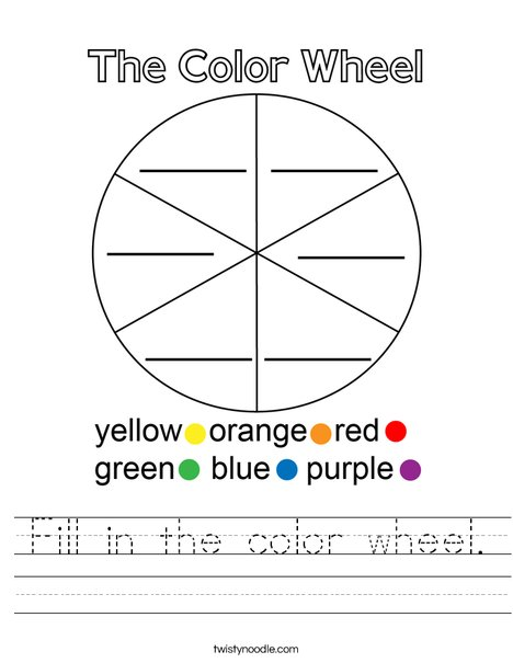 Fill in the color wheel. Worksheet