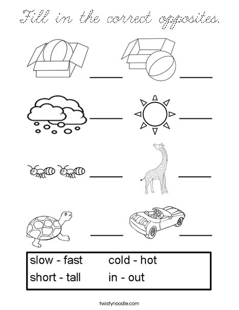 Fill in the correct opposites. Coloring Page