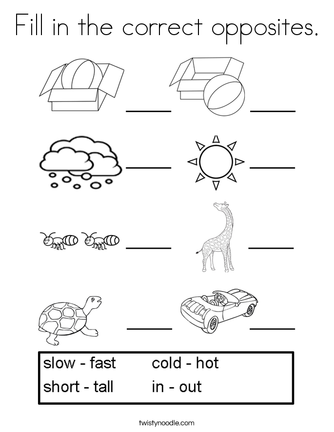 fill in the correct opposites coloring page - Fill In Coloring Pages