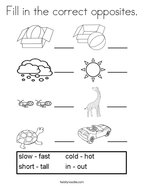 Opposites Coloring Pages For Preschoolers