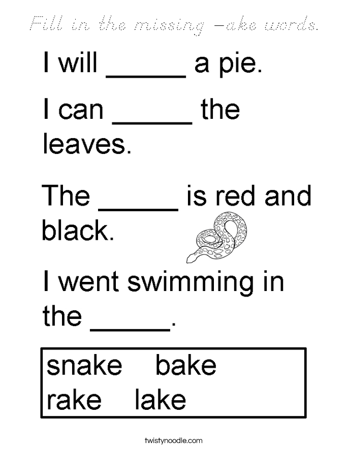 Fill in the missing -ake words. Coloring Page