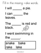 Fill in the missing -ake words Coloring Page