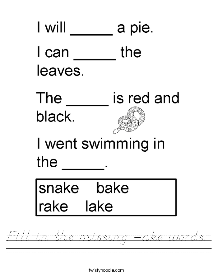 Fill in the missing -ake words. Worksheet