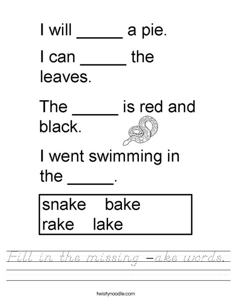 Fill in the missing -AKE words Worksheet