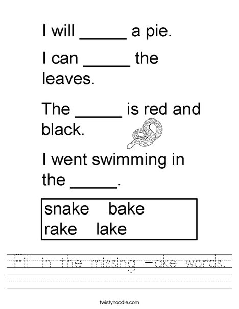 Fill In The Missing Ake Words Worksheet Twisty Noodle