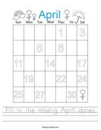 Fill in the missing April dates Handwriting Sheet