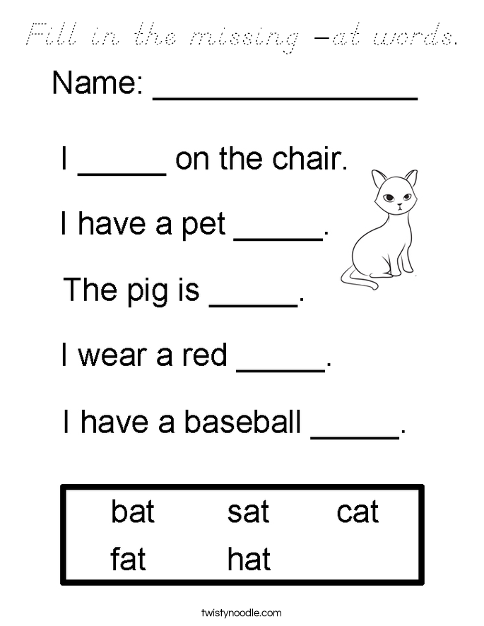 Fill in the missing -at words. Coloring Page