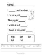 Fill in the missing -at words Handwriting Sheet