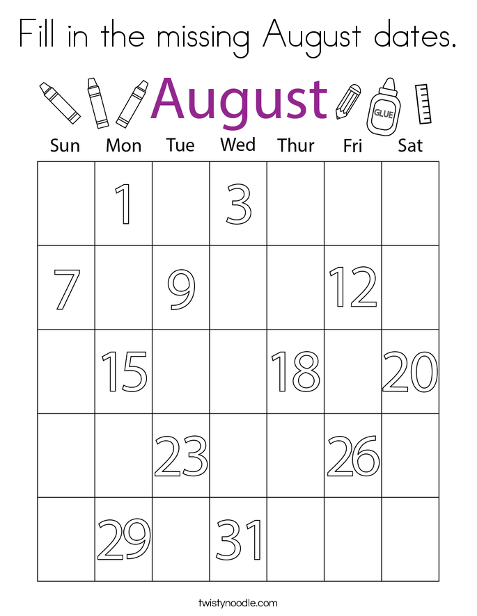 Fill in the missing August dates. Coloring Page