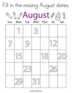Fill in the missing August dates Coloring Page
