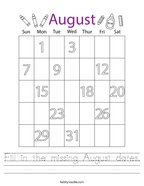 Fill in the missing August dates Handwriting Sheet
