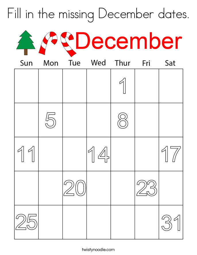 Fill in the missing December dates. Coloring Page