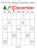 Fill in the missing December dates Coloring Page
