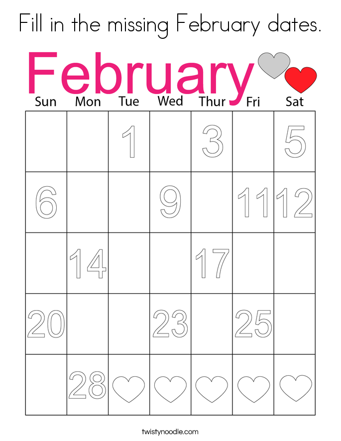 Fill in the missing February dates. Coloring Page