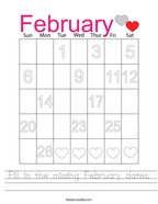 Fill in the missing February dates Handwriting Sheet