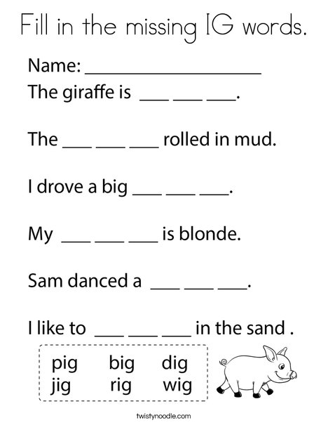 Fill in the missing IG words. Coloring Page