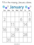 Fill in the missing January dates. Coloring Page