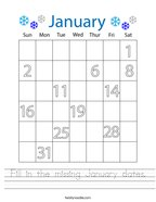 Fill in the missing January dates Handwriting Sheet